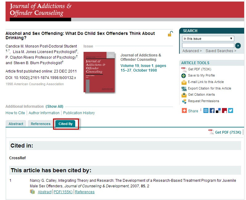 Wiley Online Library article record screen with the Cited By tab highlighted.
