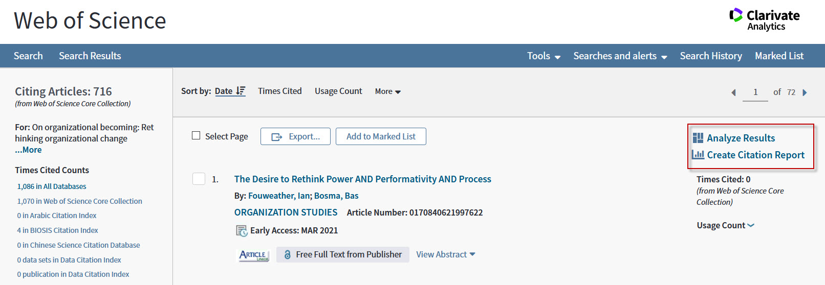 Screenshot showng the Analyze Results and Citation Report features in Web of Knowledge