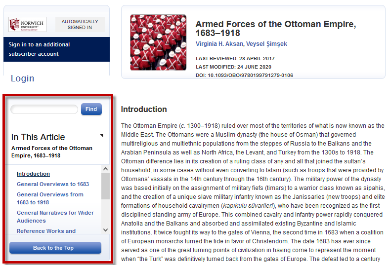 In This Article section in Oxford Bibliography