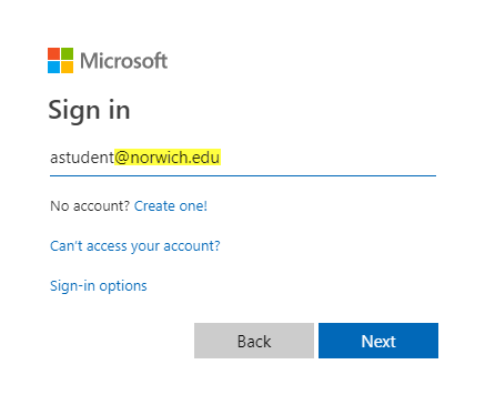 screenshot highlighting Microsoft sign in screen