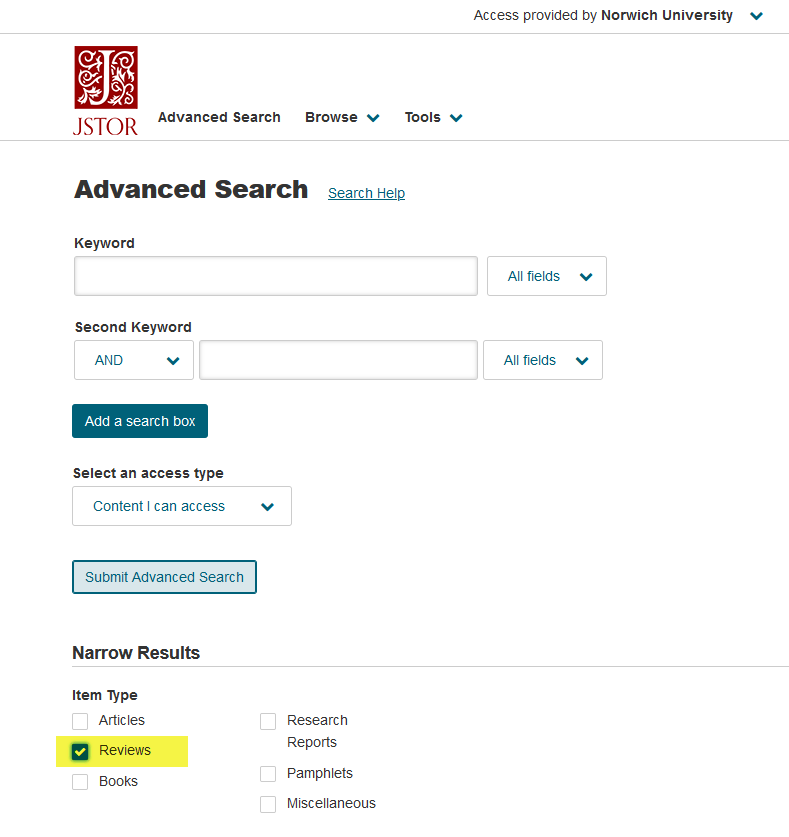 jstor review limiter
