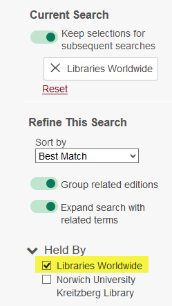 Libraries Worldwide search setting