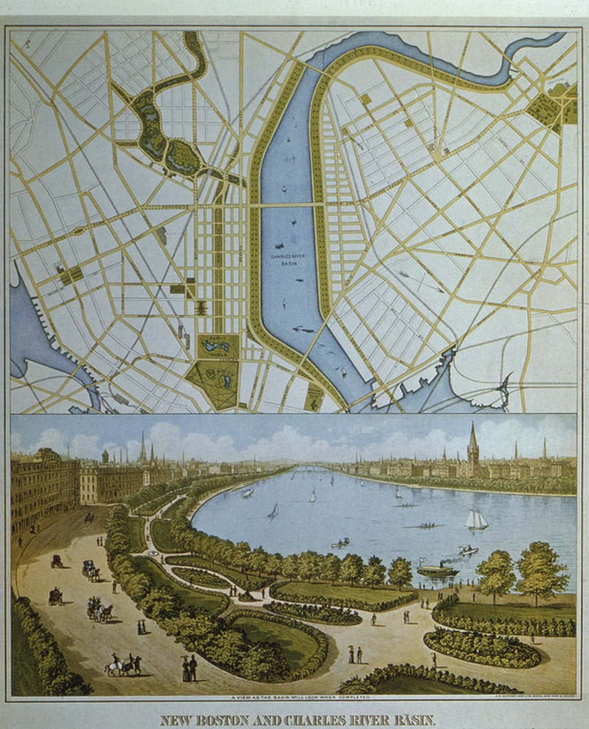 1874. Boston: City map and Charles River Embankment plan by Charles Davenport.