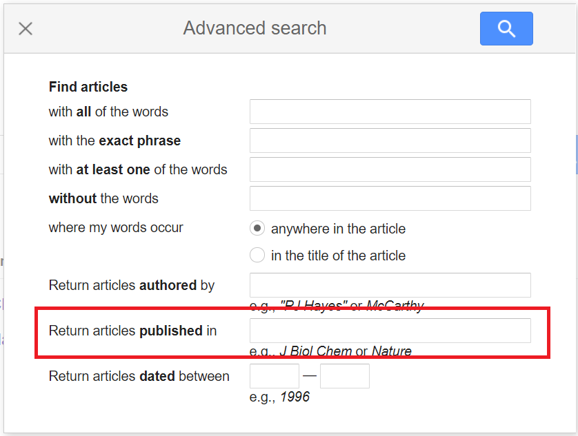 Screen capture from Google Scholar