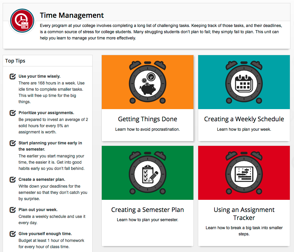 Time management module home page
