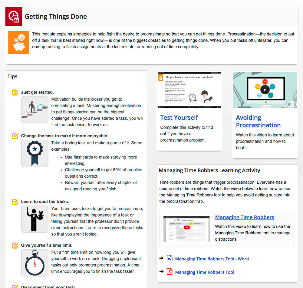 Getting things done sub-module content page.