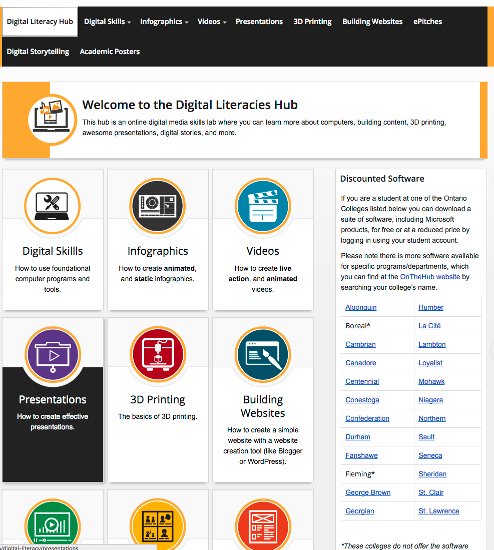 Digital Literacies hub home page