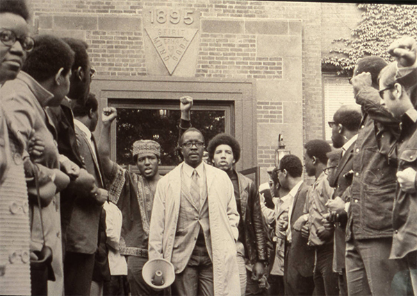 People outside of Administration Building (ca. 1969)