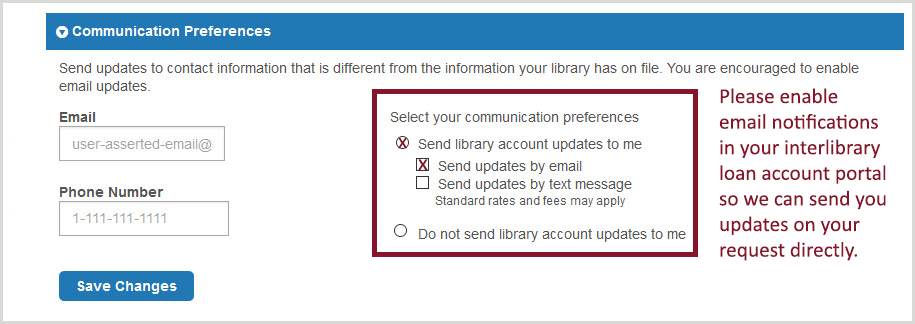 Interlibrary loan account portal