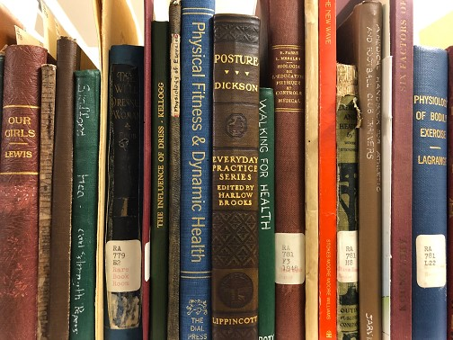 Spines of titles held in the Rare Books Collection