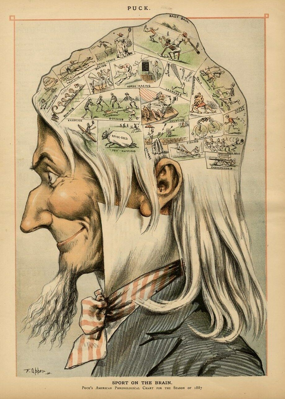 Sports on the Brain illustration by Puck's American Phrenological Chart for the Season of 1887