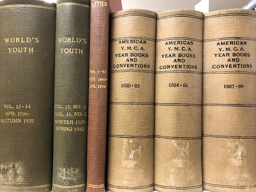 Spines of rare books: World's Youth, American Y.M.C.A. Year Books and Conventions