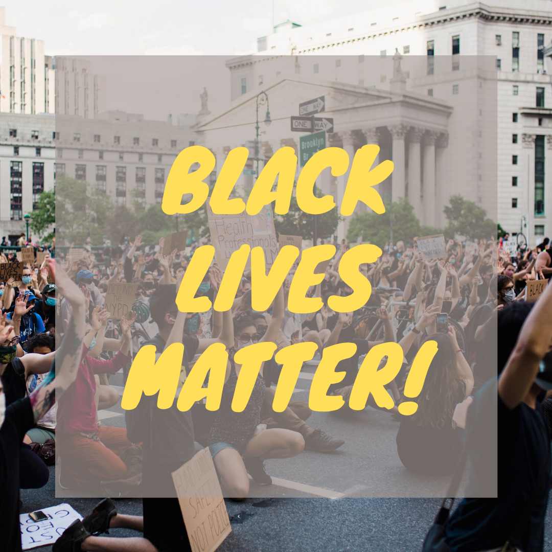 Black lives matter text over photo of protesters also book art from guide