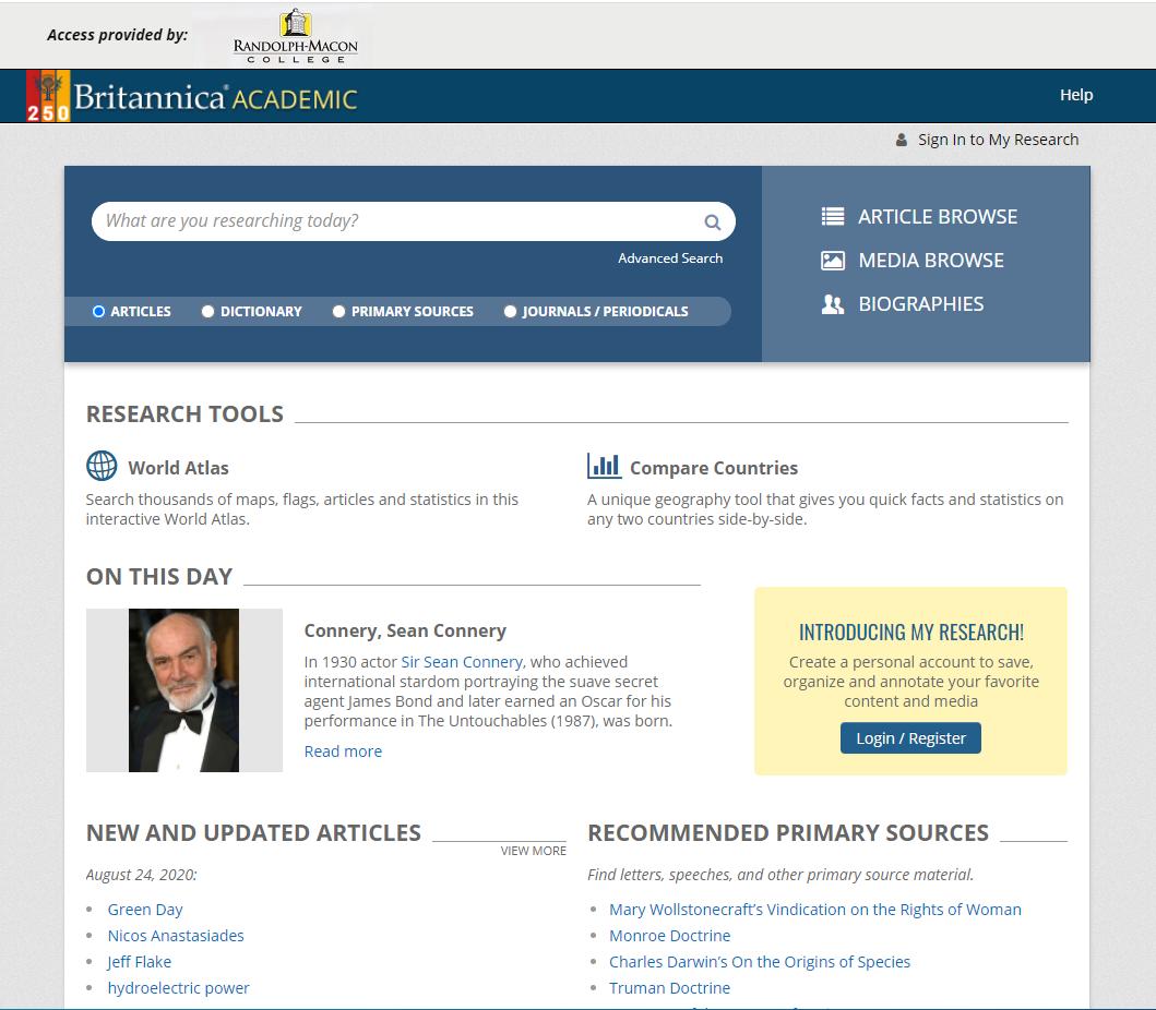 Main webpage for Encyclopedia Britannica Academic