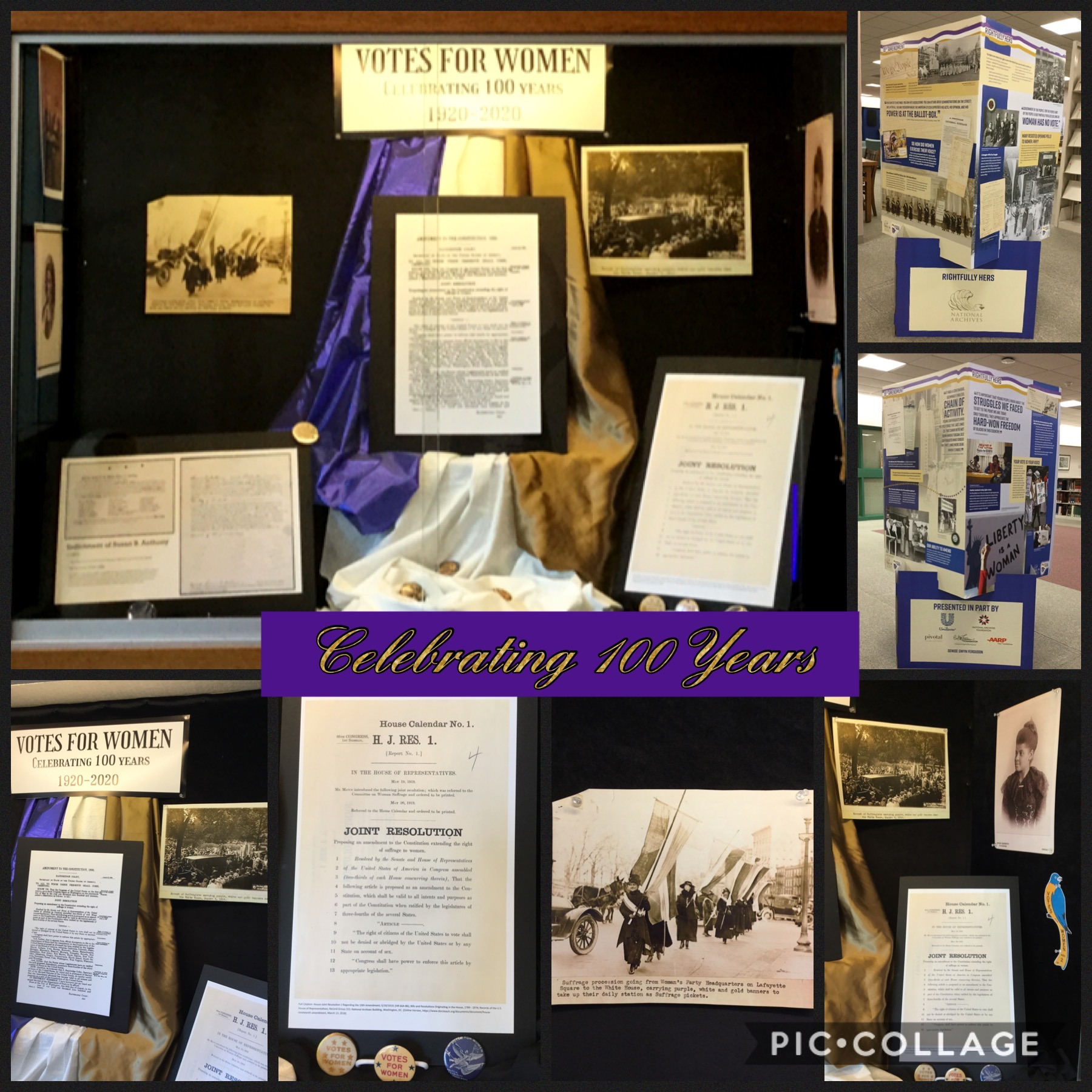 Collage of foyer display and pop-up display celebrating women's right to vote