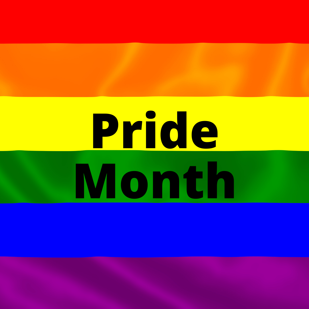Rainbow flag with Pride Month in the foreground in black letters