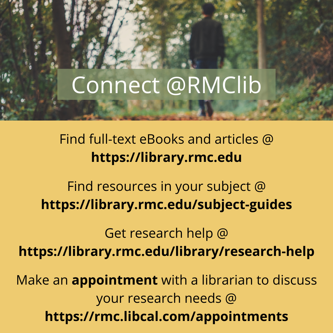 person walking in woods in the fall links to library resources