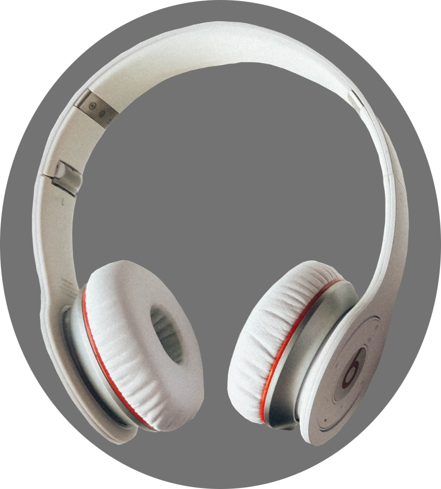 White headphones on a gray background