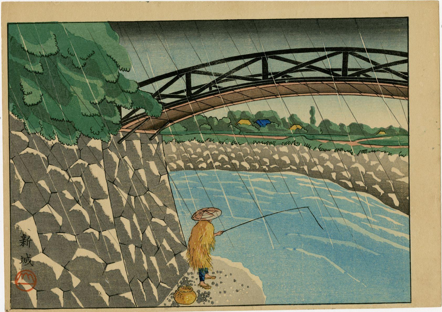 Japanese woodblock print fisherman in the rain under a bridge