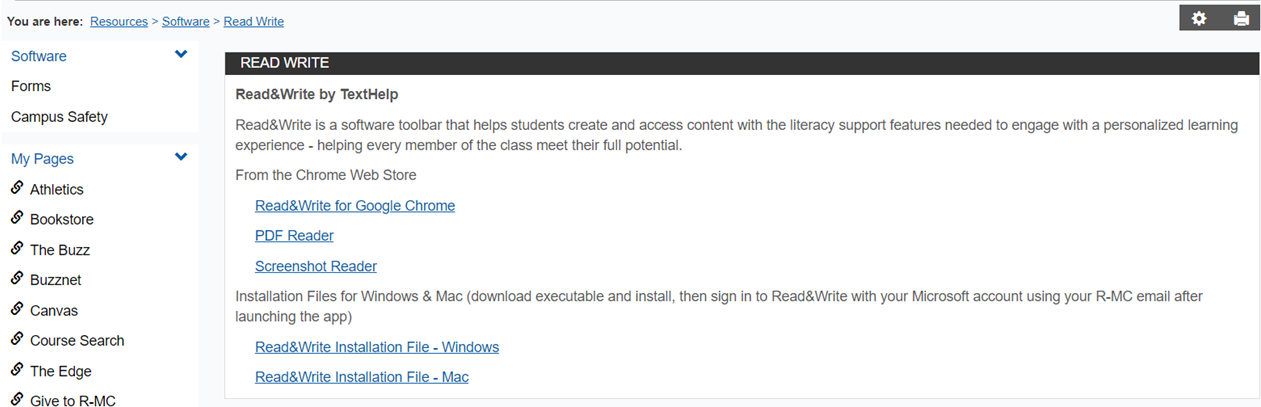 MyMaconWeb instructions for installing Read+Write
