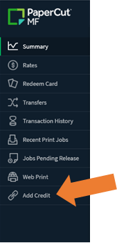 Shows papercut MF navigation menu with an arrow pointing to the Add Credit option at the bottom
