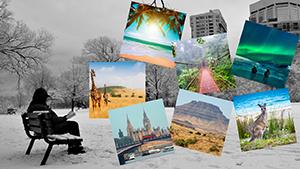 Man sitting on bench in park in winter colorful photos of other places float about.