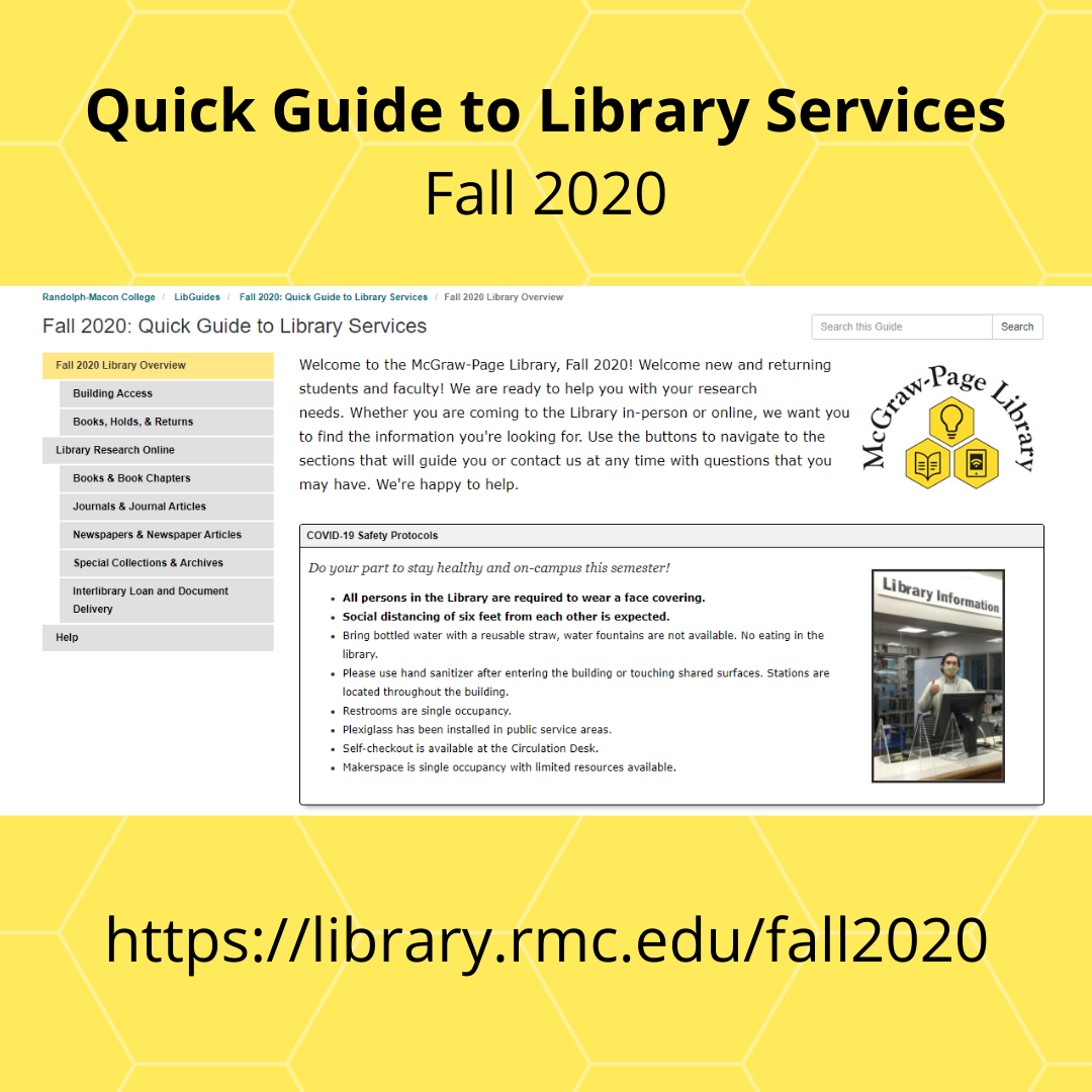 Quick guide to library services Fall 2020 thumbnail