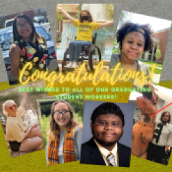 photos of graduating student workers congratulations
