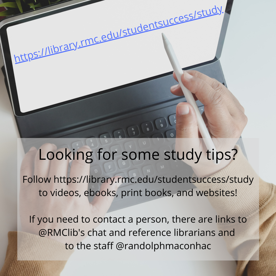 Link to the library's student success study skills webpage