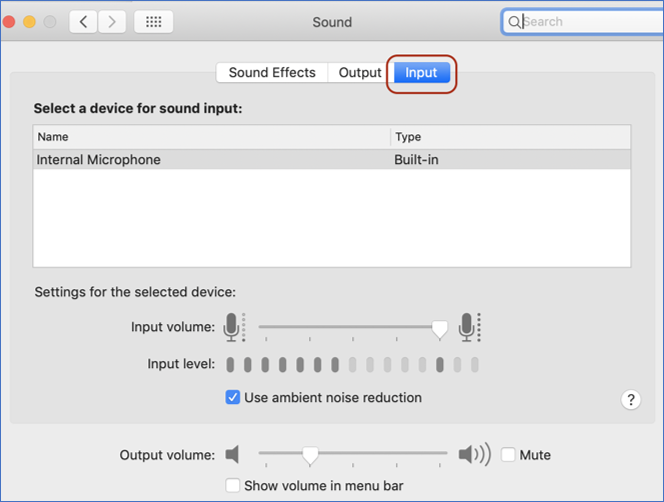Input circles on Mac sound in system preferences