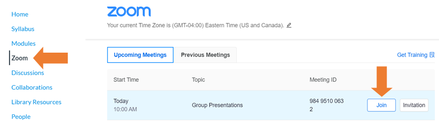 zoom link in Canvas and link to join zoom class meetings