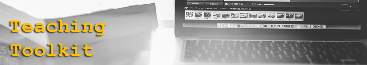 Teaching toolkit banner with laptop computer