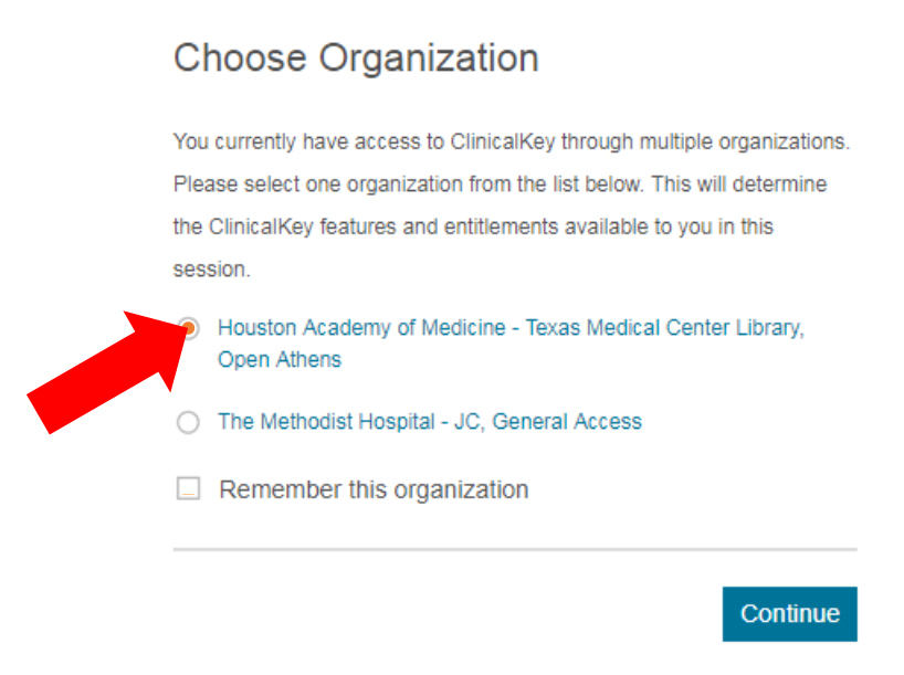 ClinicalKey: BCM Choose Organization