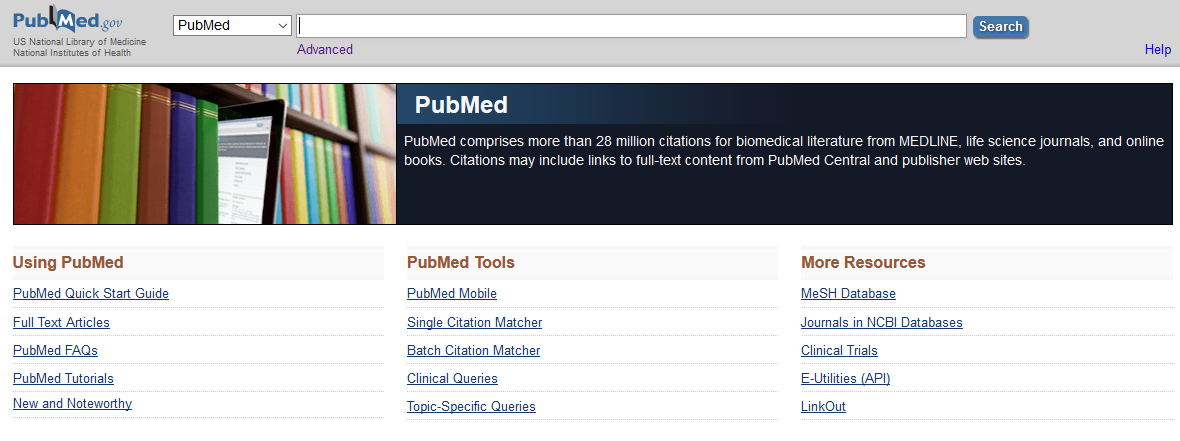 PubMed landing page