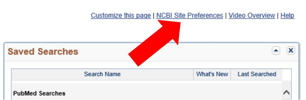 My NCBI Site Preferences