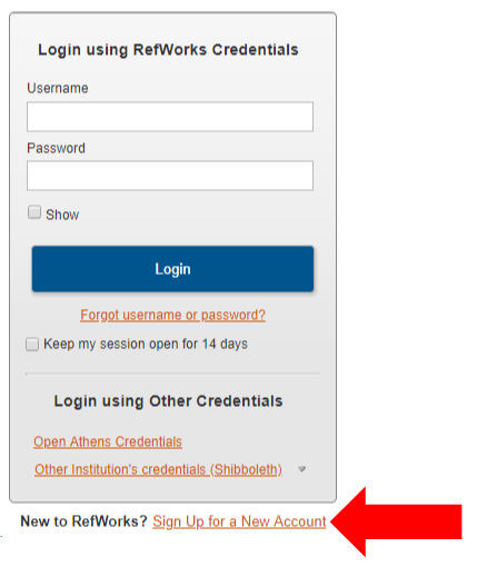 RefWorks: Sign up for a new account