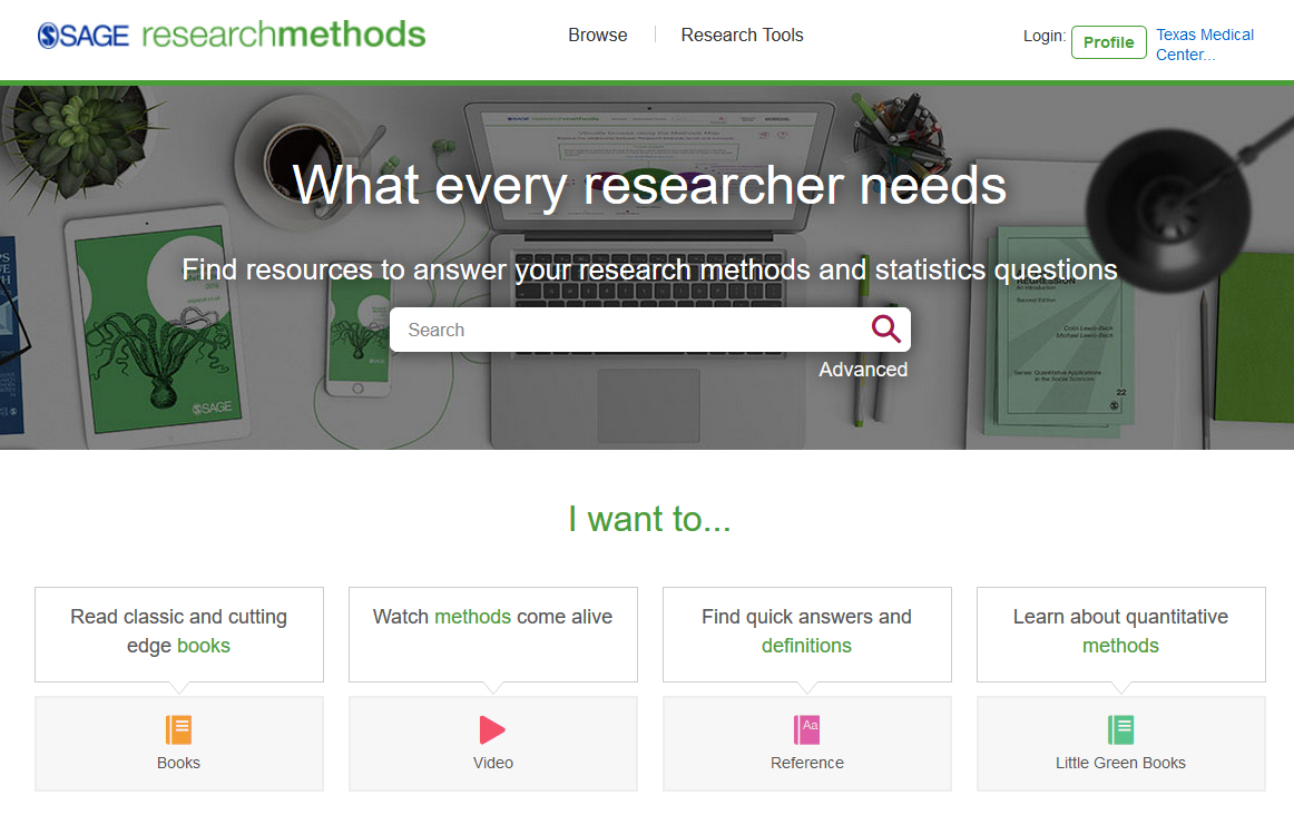 Sage Research Methods start page