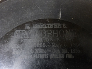 Close-up of etched record label, E. Berliner's Gramophone