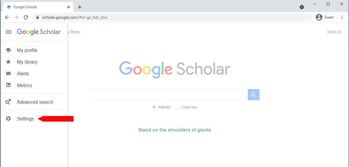 google scholar menu open
