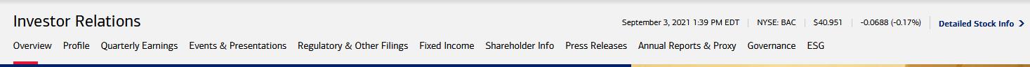 Bank of America Investors page headings