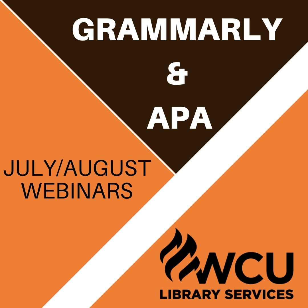 July and August Webinars on Grammarly and APA