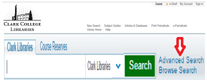 Advanced Search Hyperlink on Library Catalog Homepage