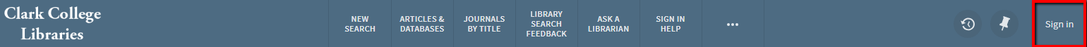 "Library catalog with red box around ""Sign in"""