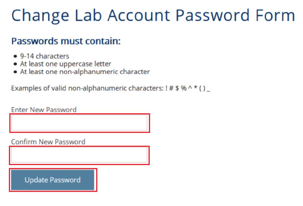 Change Lab Account Password Form