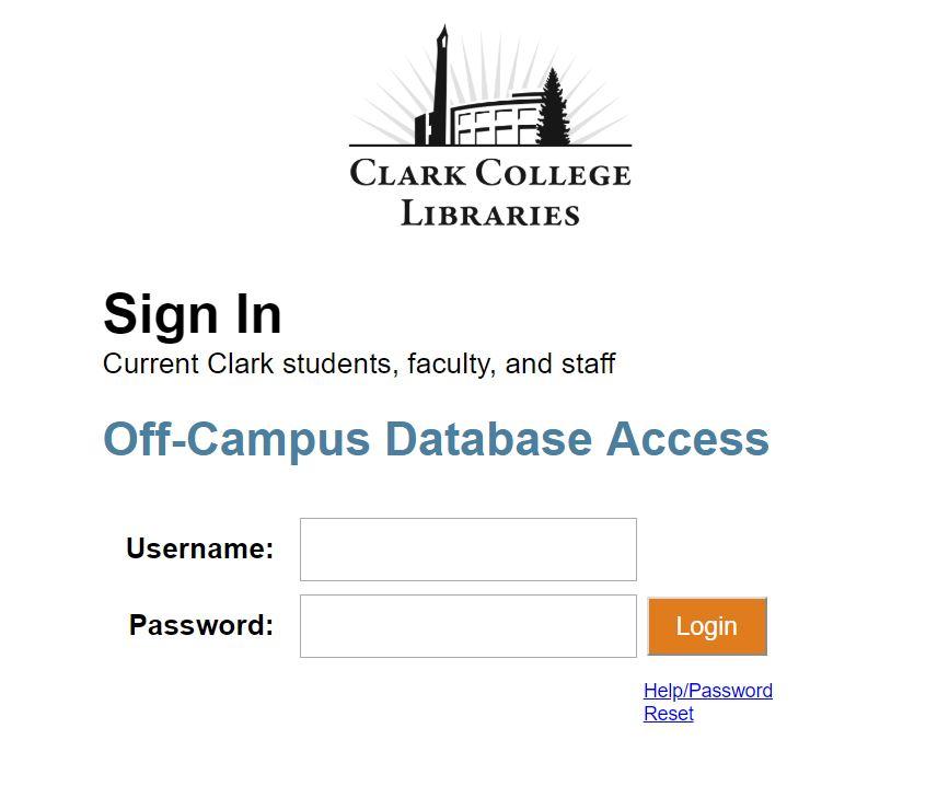 Login page for off-campus access to library databases screenshot