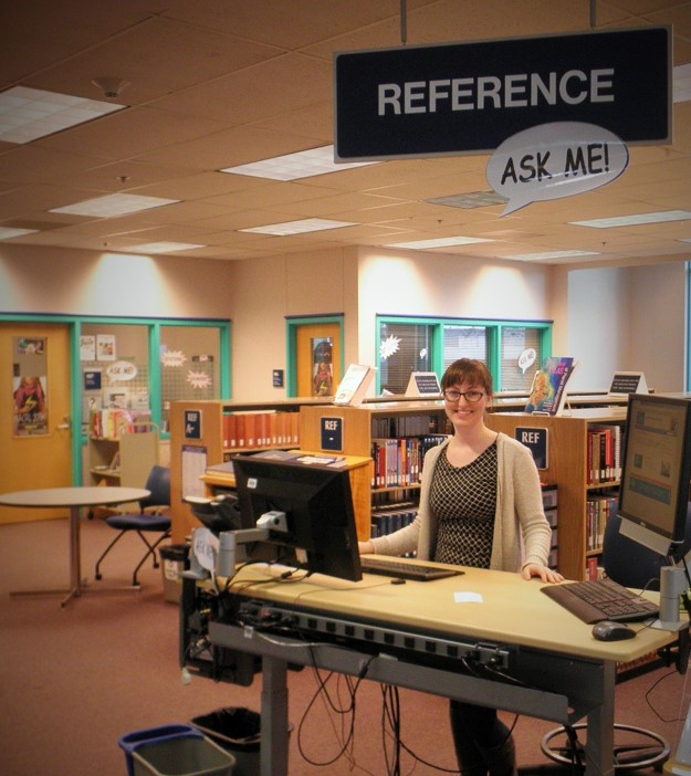 librarian at reference desk