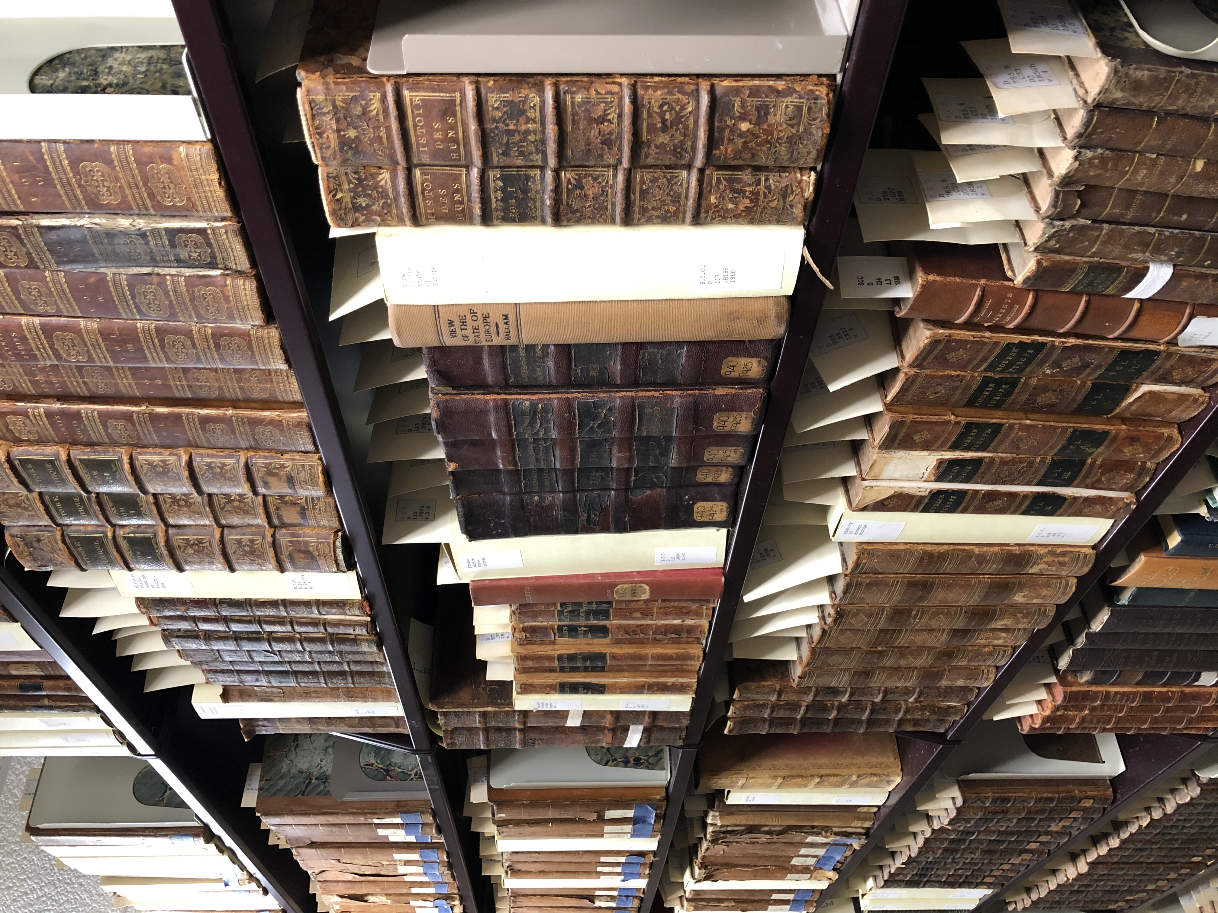 Rare books on shelves in Archives storage