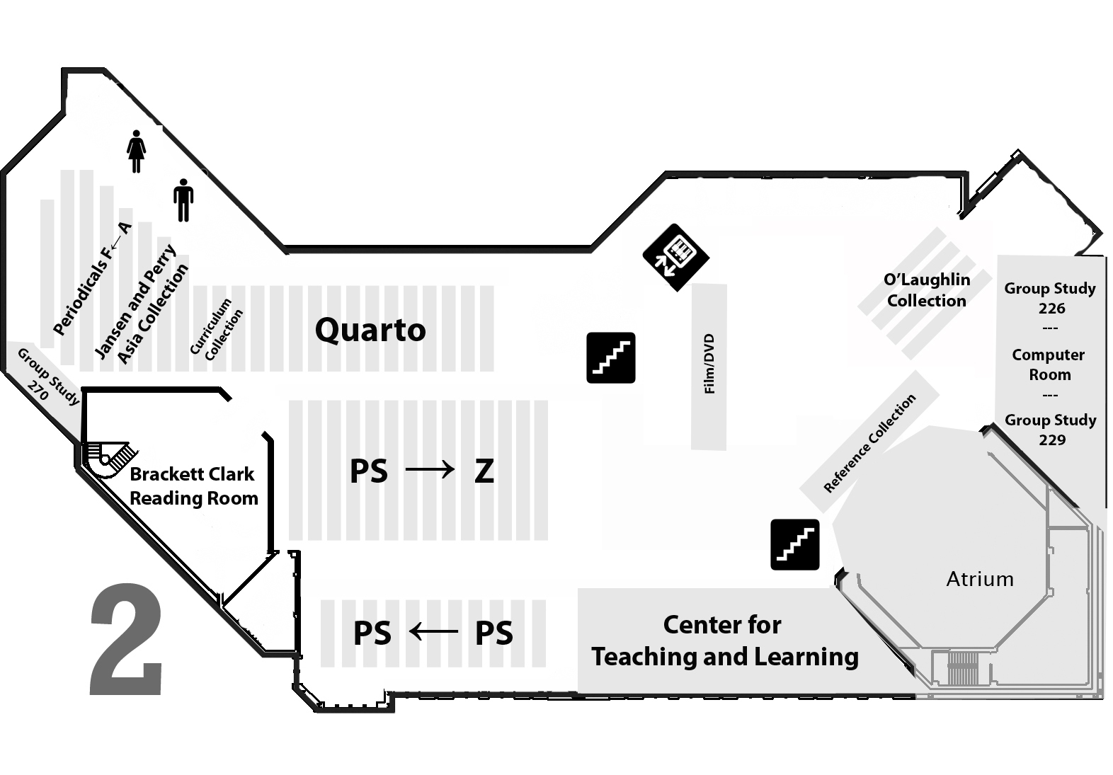 Map of the library 2nd floor