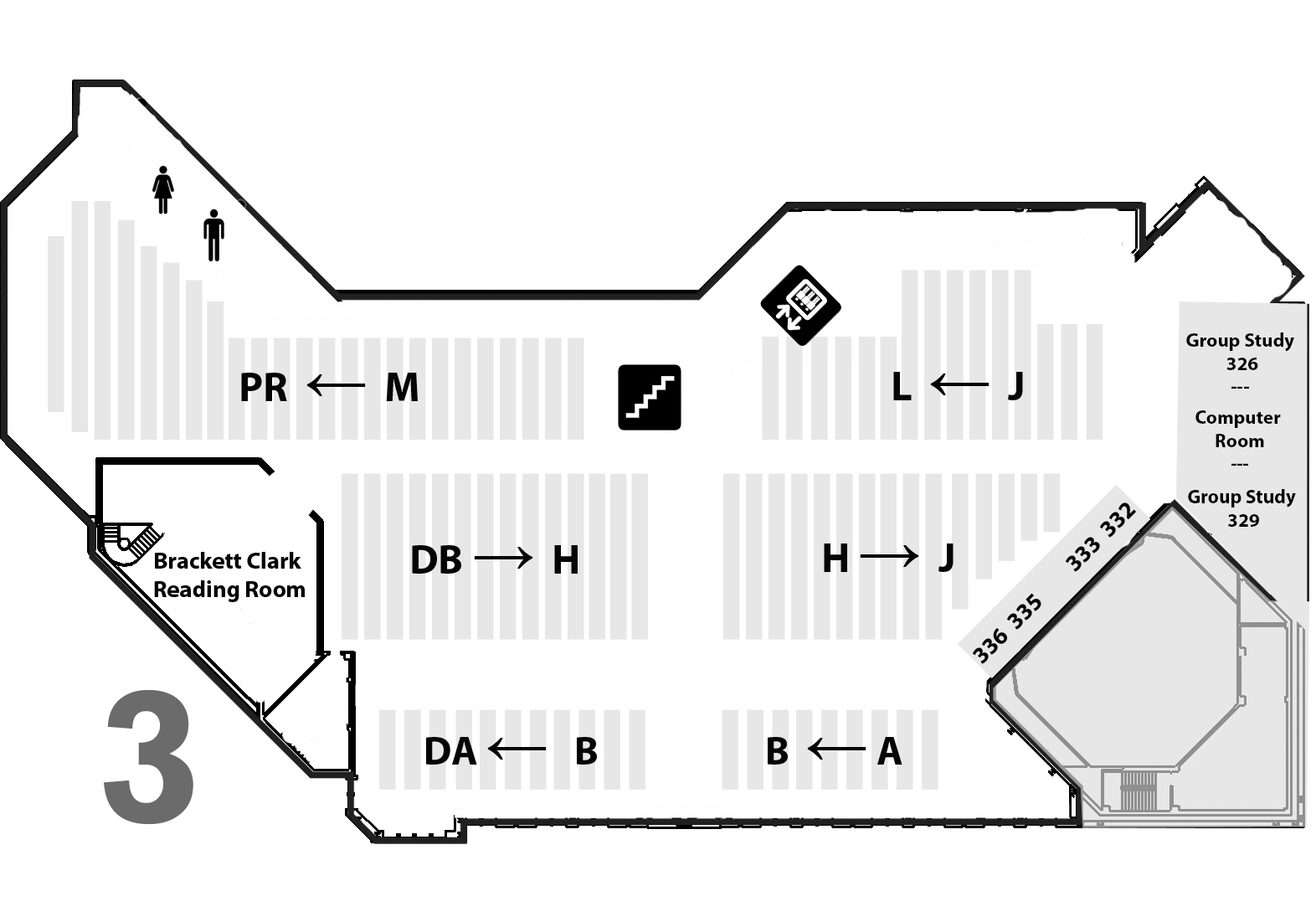 map of library 3rd floor