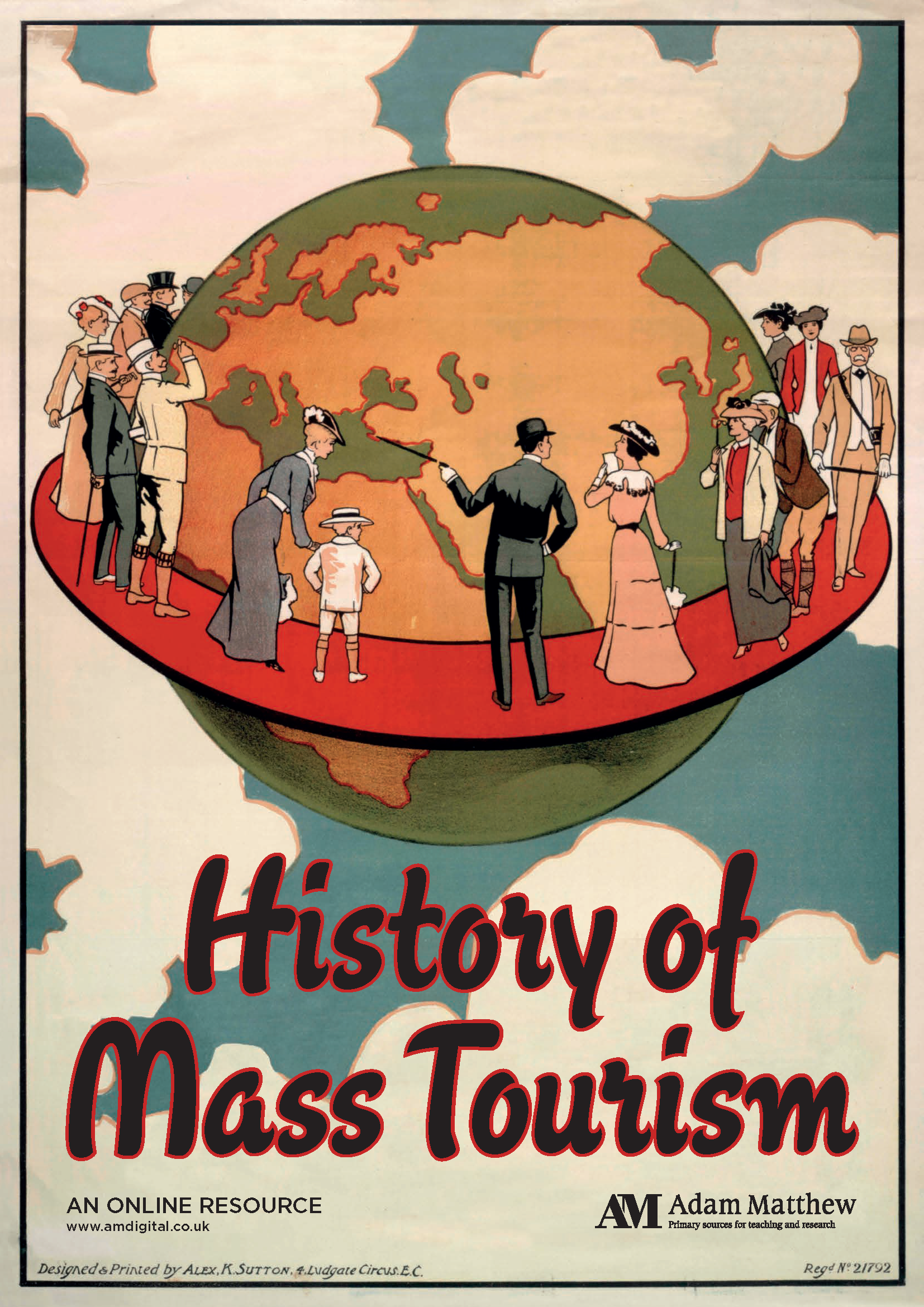 Colorful poster from the 1920s of a globe floating in the clouds with richly dressed people standing on a ring around it.
